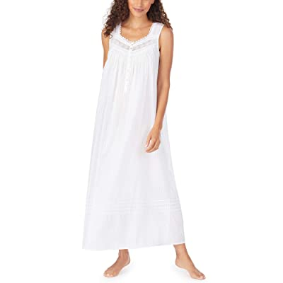 Eileen West Petite Cotton Dobby Stripe Woven Sleeveless Ballet Nightgown (White) Women