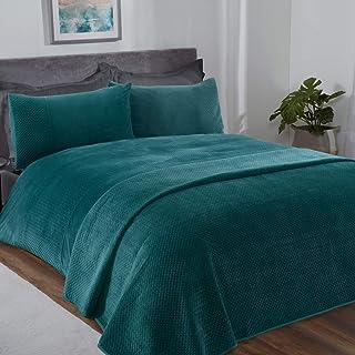 Sleepdown Pinsonic Emerald Green Velour Geometric Panel Band Super Soft Cosy Luxury Duvet Cover Quilt Bedding Set with Pillowcases - King (220cm x 230cm)