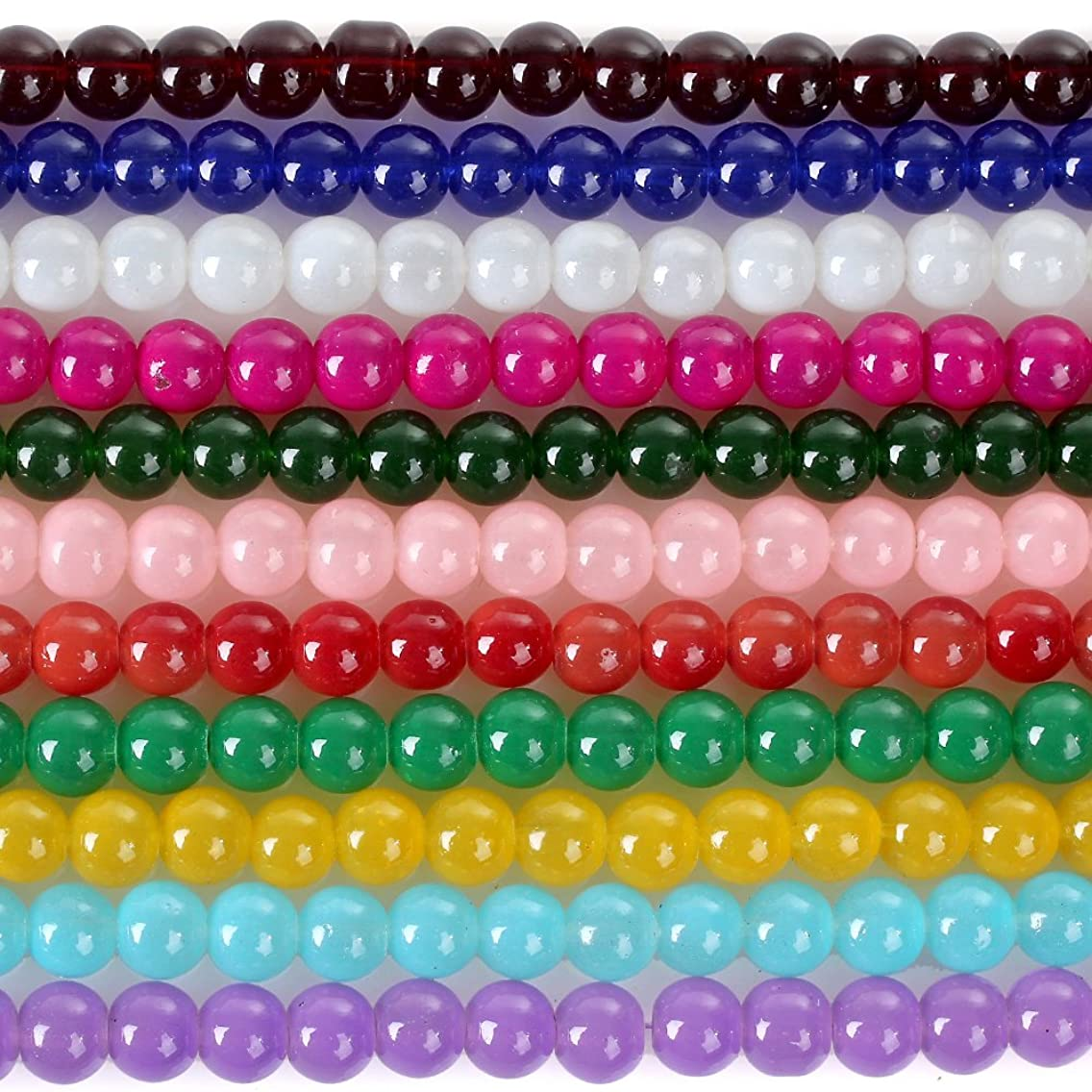 RUBYCA 2 Strings Mix Lot Assorted Jade Imitation Round Painted Coated Glass Beads Jewelry Making 8mm
