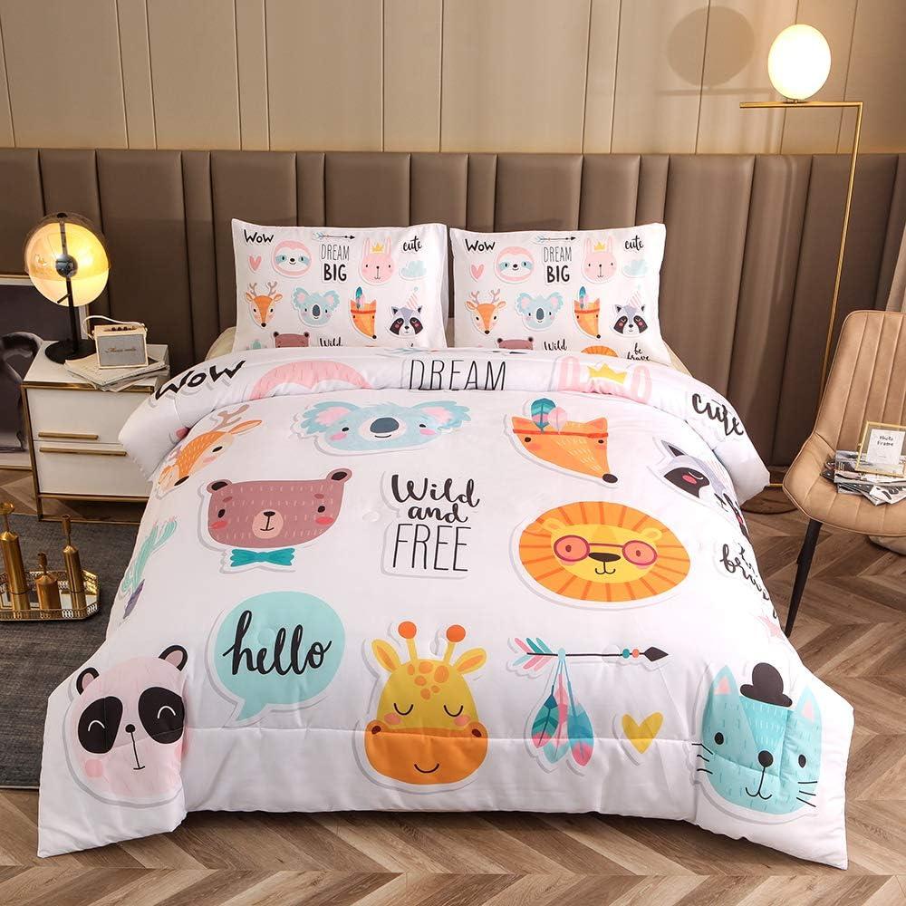Btargot Jungle Animals Boys Girls Ultra Soft Comforter Set Zoo Party Cute Panda Cat Koala Giraffe Lion Cat Print Bedding Sets