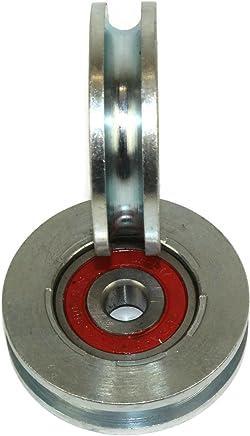 Pack de 2 ruedas de puerta corredera 59 mm de diámetro ranura redonda de acero fabricado