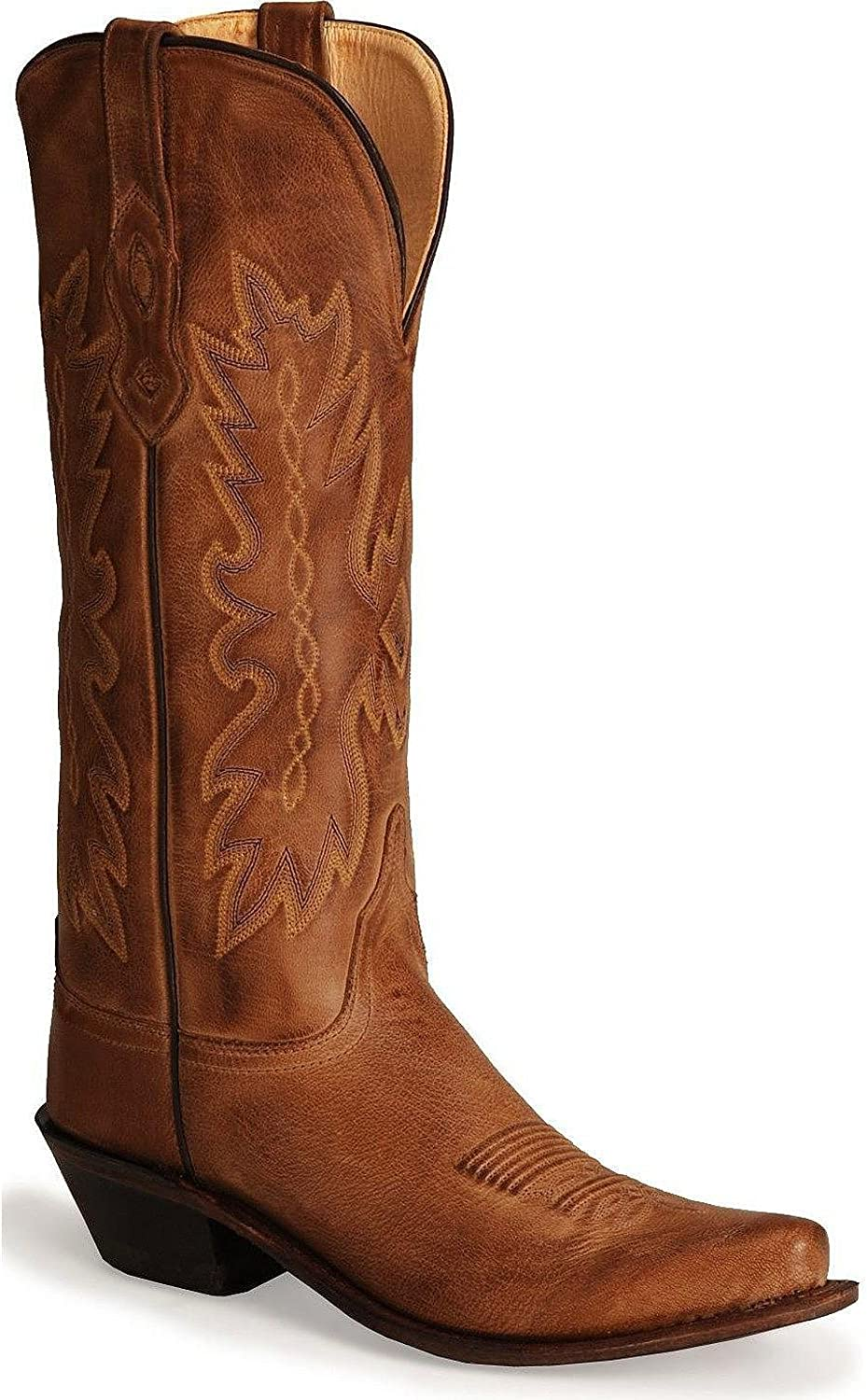 Old West Cowboy Boots Womens Tall Snip Leather 9.5 M Tan Canyon TS1541