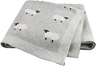mimixiong Baby Blanket Knit 100% Cotton Toddler Blankets for Boys and Girls Swaddle Stroller with Cute Sheep Size 30 x 40 inches
