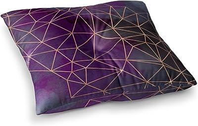 Kess InHouse Cafelab Watercolor Storm Purple Gold 23 x 23 Square Floor Pillow