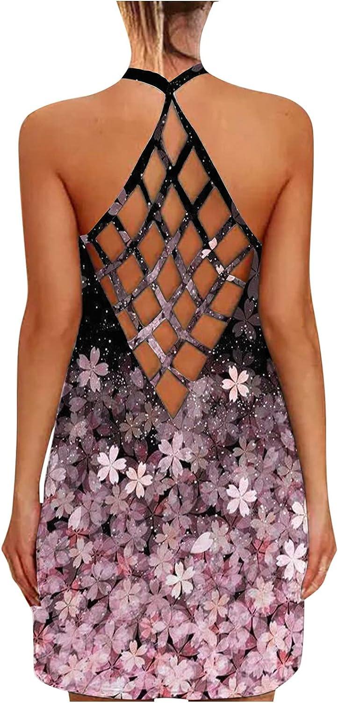Womens Summer Dresses Short,Women's Tank Dresses Sleeveless Boho Beach Dress Open Back Criss Cross Hallow Out Mini Dress