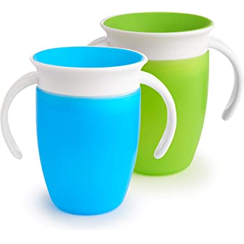Munchkin Miracle 360 Trainer Cup, Green/Blue, 7 Oz, 2 Count