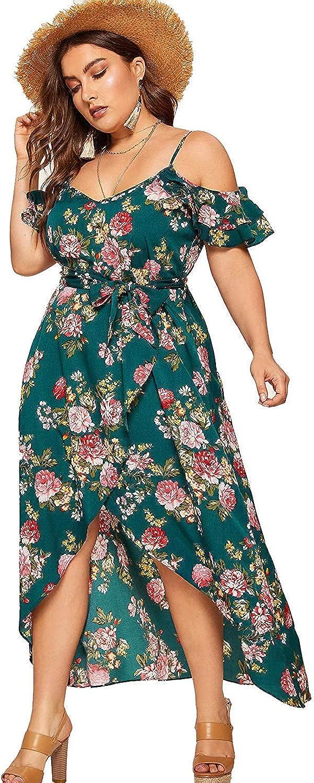 Milumia Women Plus Size High Waist Boho Floral Cold Shoulder Split Maxi Dress