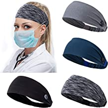 Headband with Buttons for Face Mask Holder Ear Protection Hair Covers for Nurses Doctors Elastic Headbands Sets Non Slip E...