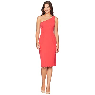 Maggy London Solid Crepe One Shoulder Sheath with Scallop Detail (Pink Punch) Women