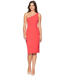 Solid Crepe One Shoulder Sheath with Scallop Detail