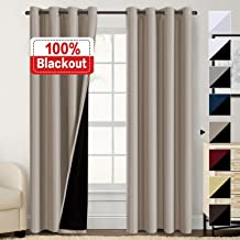 100% Blackout Curtains for Living Room Double Layer Faux Silk Curtains Room Darkening Thermal Insulated Energy Saving Grommet Window Treatment Panels (Khaki, 52 by 108-inch)