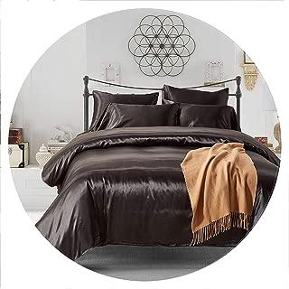 lovehouse21 Satin Silk Comforter Cover Set Us UK Size 3Pcs / Set Modern Bedding Gray Oriental Duvet Covers Bed Set 7 Colors Capa De Edredon Casal,Black,UK-King