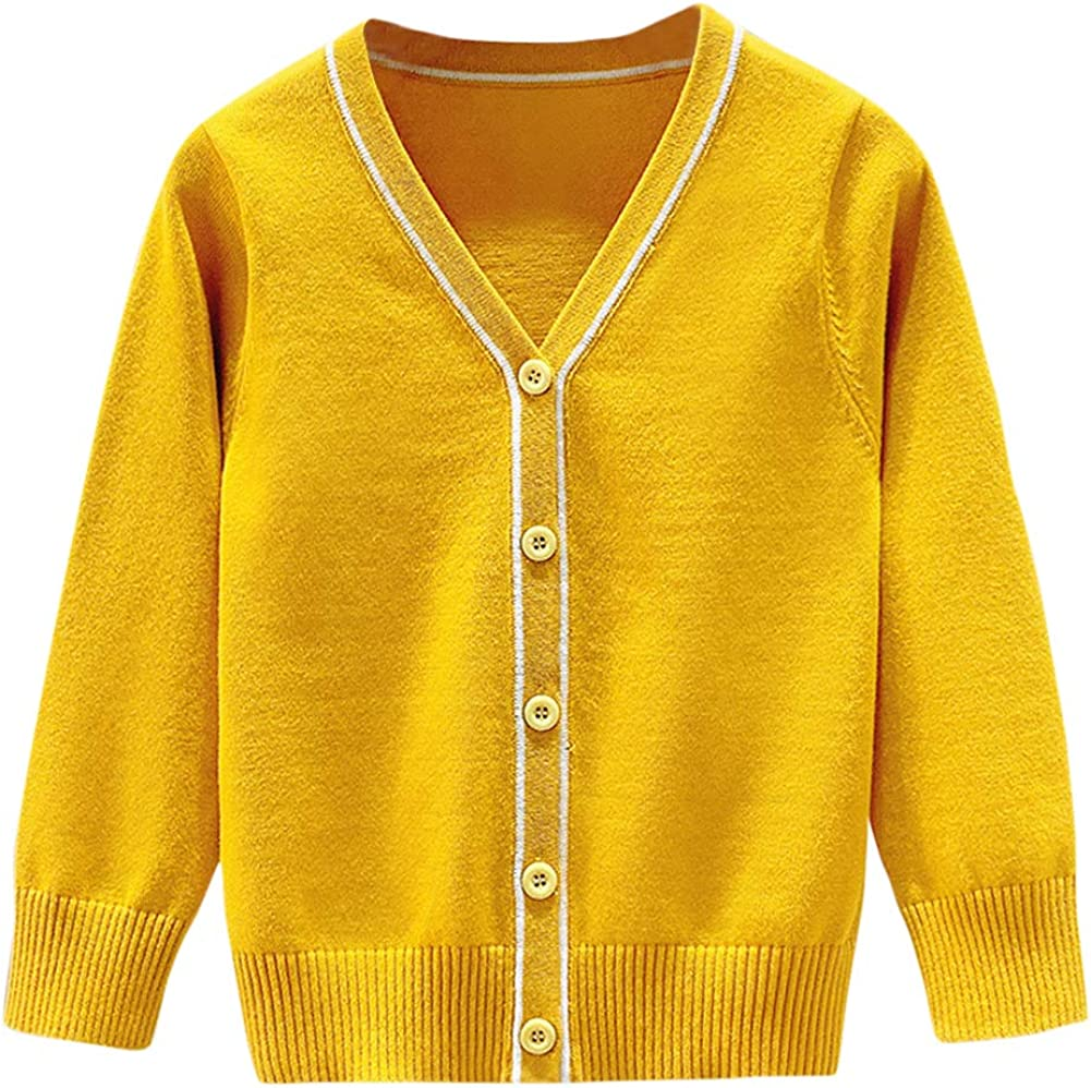 Boys' Cardigan Sweater V-Neck Knitted Button Up Solid Long Sleeves Kids Jacket School Uniform