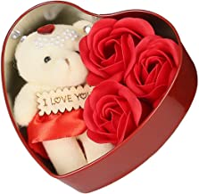 Cobrothers Unique Valentine Day Beautiful Gifts for Wife,Girlfriend and Someone Special (Red Colour Heart Shape Aluminium Box with Teddy and Roses) Best Valentine Day Gift