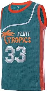 TUEIKGU Mens 33 Flint Tropics Jersey Jackie Moon Basketball Jersey S-XXL Green/White