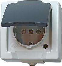 Kopp 107856005 Nautic stopcontact voor vochtige ruimtes, opbouw, 1-voudig geaard stopcontact met deksel en verhoogde aanra...