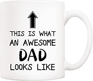5Aup Christmas Gifts Funny Awesome Dad Coffee Mug, This Is What an Awesome Dad Looks Like, 11Oz Novelty Cups from Daughter Son, Unique Birthday and Fathers Day Gifts for Dad Father Husband Men