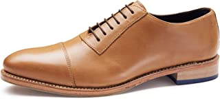 Samuel Windsor Men's Handmade Goodyear Welted Black Oxford Italian Leather Shoe with Rubber Sole Insert