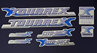 Fahrrad Rahmen Aufkleber Schriftzug Frame Sticker Set Decal TOURREX Bike Design siber blau