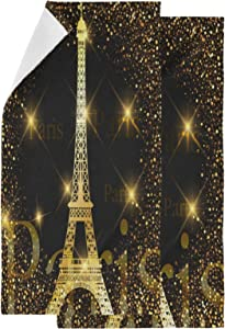 Naanle Chic Gold Glittering Eiffel Tower Paris Print Luxury 2 Piece Soft Fluffy Guest Decor Hand Towels, Multipurpose for Bathroom, Hotel, Gym and Spa (14