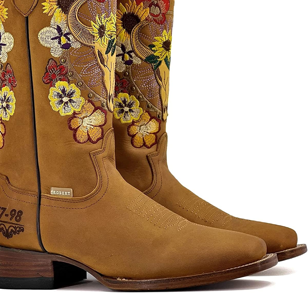 Catarry Women Mid Calf Pointed Toe Cowgirl Boots Chunky Heel Embroidery Vintage Pull on Western Boots