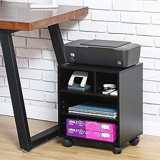 FITUEYES Soporte para Impresora con Ruedas 3 baldas de Carrito para Impresora Color Negro 40x30x48,5 cm PS404001WB