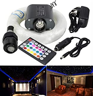 AZIMOM RGBW 16W Led Fiber Optic Light Star Ceiling Lighting Kits Sensory Remote Control for Car Home Sky Headliner Curtain Waterfall End Glow Lighting Decoration 300pcs 0.03in 6.5ft