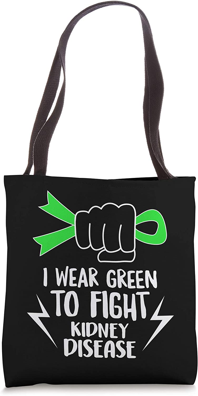 I Wear Green Ribbon Fight Kidney Disease Awareness Warrior Tote Bag