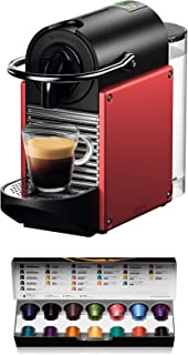 Nespresso De'Longhi Pixie EN124.R Cafetera monodosis cápsulas, 19 Bares, depósito Agua 0.7 L, Apagado automático, Rojo, In...