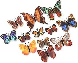 #N/A Ristiege 12 pegatinas de pared de mariposa de simulación 3D estéreo paisajismo decoración pegatinas de pared, color m...