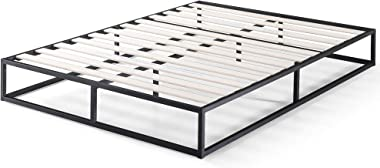 Zinus Joesph Modern Studio Industrial 15cm Queen Bed Base Mattress Foundation Support - Metal Steel Frame Wood Slats Wooden