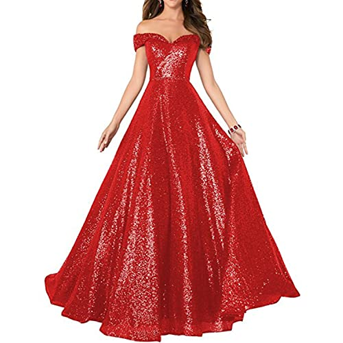 227ce1b584 Stillluxury Sequin Prom Dresses Off The Shoulder Crystal Beaded Swing Ball  Gown Long P104