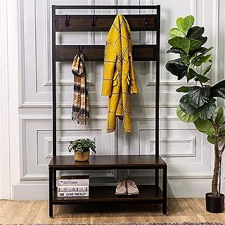 Macmon Direct Coat Rack Shoe Bench Metal Hall Tree Entryway Storage Organizer with Hat Umbrella Rack 7 Hooks