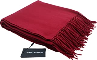 State Cashmere 100% Pure Cashmere Throw Blanket with Fringes Ultimately Soft and Warm (Burgundy, One Size)