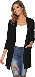 Newchoice Womens Fall Lightweight Long Sleeve Cardigan Sweaters with Pockets Soft Open Front Long Cardigan (S-XXL)