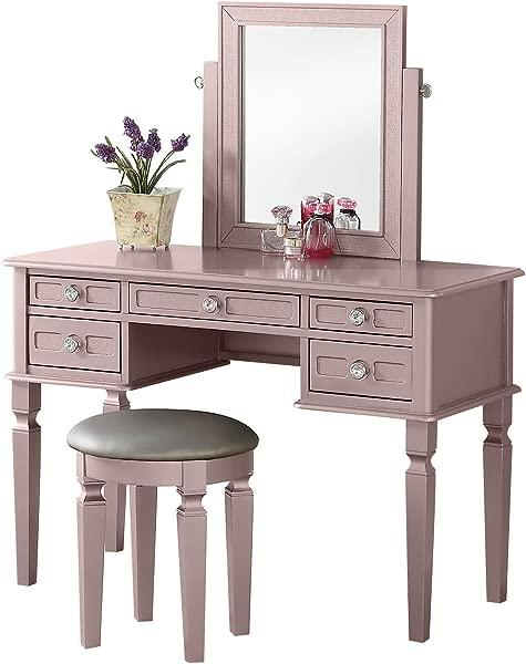 BOBKONA F4186 Vanity Table With Stool Set Rose Gold