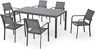 Great Deal Furniture Mirabelle Outdoor 6 Seater Aluminum Dining Set with Tempered Glass Table Top, Gun Metal Gray and Dark Gray