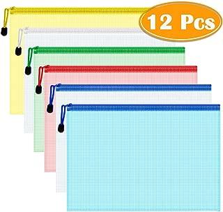 Paxcoo 12 Pcs 5 Colors A4 Plastic Zip File Paper Document Folder Bags Storage Pouch