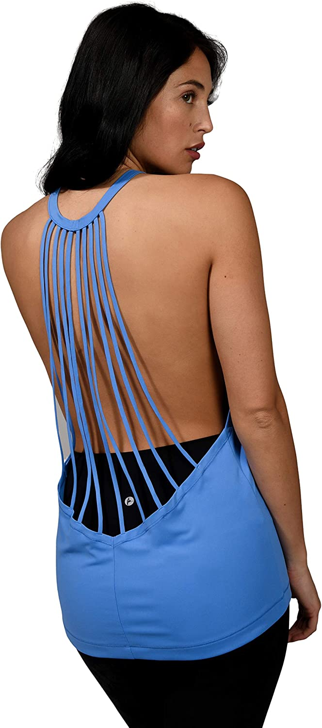 90 Degree By Reflex Womens Strappy Open Back Workout Tank Top