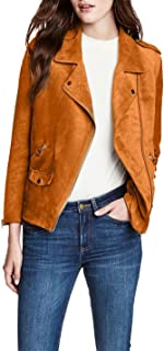 Richlulu Womens Micro Suede Diagonal Zipper Front Bomber Motorcycle Jacket Short Coat