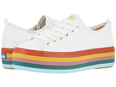 Keds Triple Up Rainbow Foxing (White Leather) Women