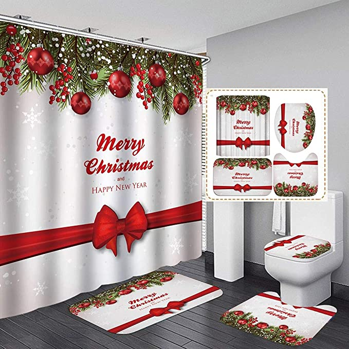 Details about  /Christmas Snow Bathroom Polyester Shower Curtain Non Slip Toilet Cover Rugs