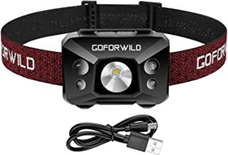 Redlight Spot Rechargeable Headlamp, 500 Lumens White Cree LED Head Lamp Flashlight with Red light and Motion Sensor Switc...