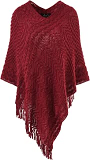 Ferand Women's Elegant Cozy Poncho Sweater Chevron Stripes Fringes