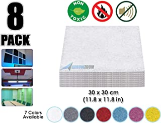 Arrowzoom New 8 Pieces 11.8 X 11.8 inches White Acoustic Soundproofing Insulation Panel Tiles AZ1093 (WHITE)