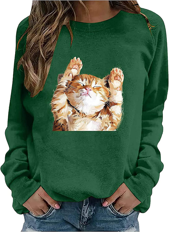 Women's Cute Cat Printed T Shirts Casual Crewneck Pollover Tops Fashion Long Sleeve Loose Sweatshirt Blouse