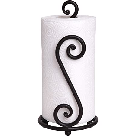 Fancy Paper Towel Holder Stand   Black Stylish Wrought Iron   Classic Decorative Countertop Authentic Rod Metal Hand Forged Stand Up Holder   Easy One-Handed Tear   Handmade Crafted by RTZEN-Décor