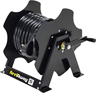 Lippert Components 677584 RV Reel Away Cord Storage Reel with Stand, Metal, Standard, Black