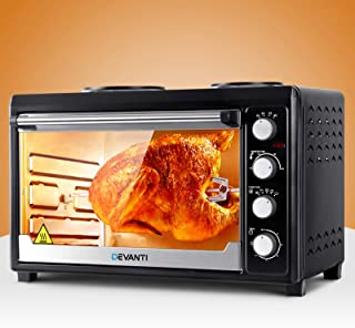 DEVANTi Electric Convection Oven Bake Benchtop Rotisserie Grill 60L Black