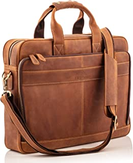 "Full Grain Leather Laptop Messenger Bag for Men – Fits 15.6"" Laptop's, Phones, Files & All Your Accessories – Our Computer Briefcases are Built with Handmade Soft Natural Leather, Makes a Perfect Gift"
